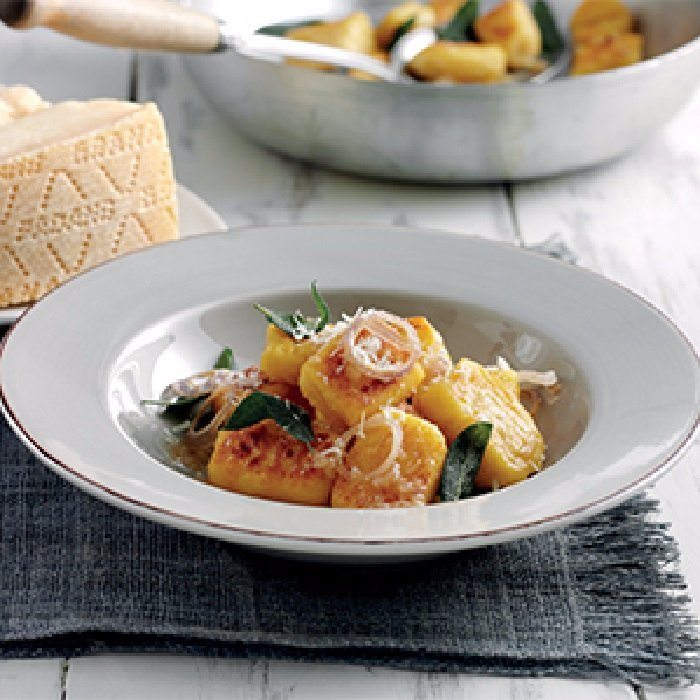 Aged Grana Padano and pumpkin gnocchi with sage