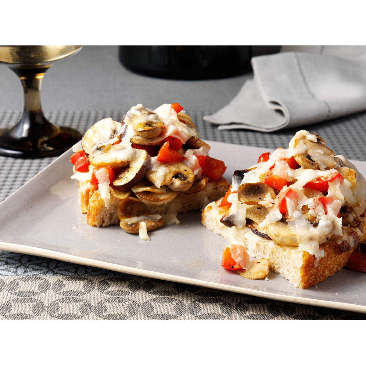 Bruschetta with Skillet Seared Mushrooms and Grana Padano