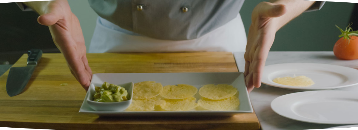 Grana Padano wafers with guacamole
