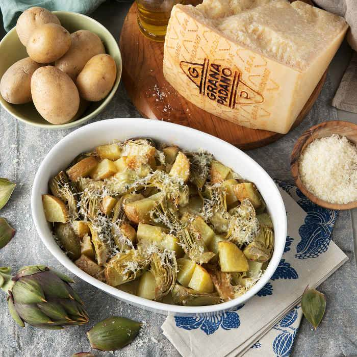 Baked Artichokes and Potatoes with Grana Padano