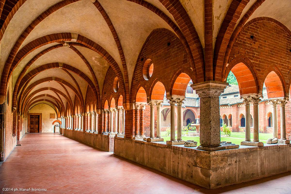 View from the Chiaravalle Abbey cloister in Milan