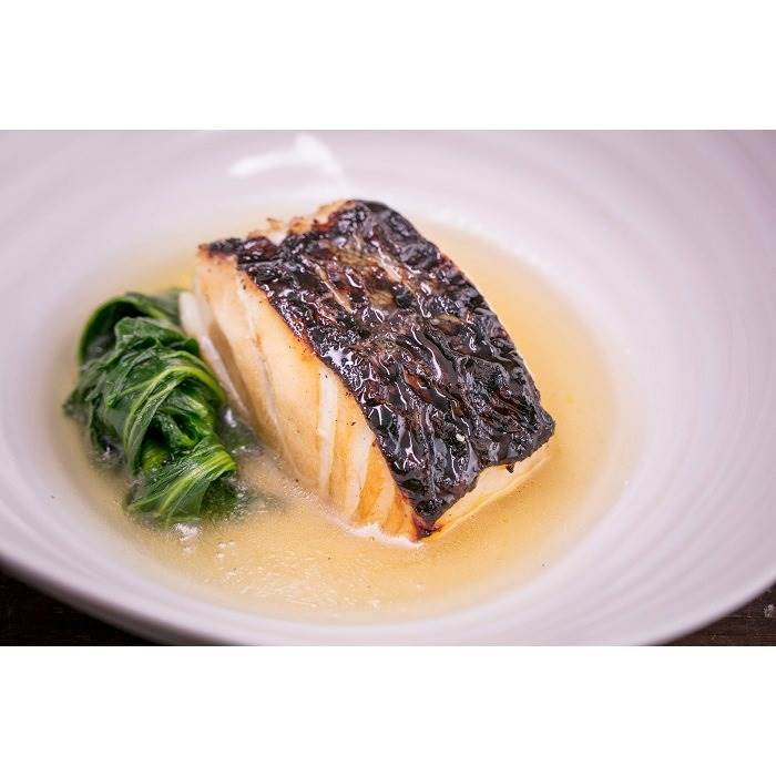 Prosecco DOC marinated cod with green chicory and Grana Padano broth