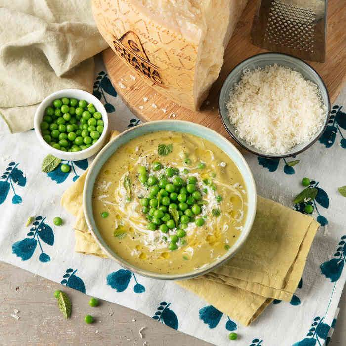 Creamy Pea Soup with Mint, Yoghurt and Grana Padano