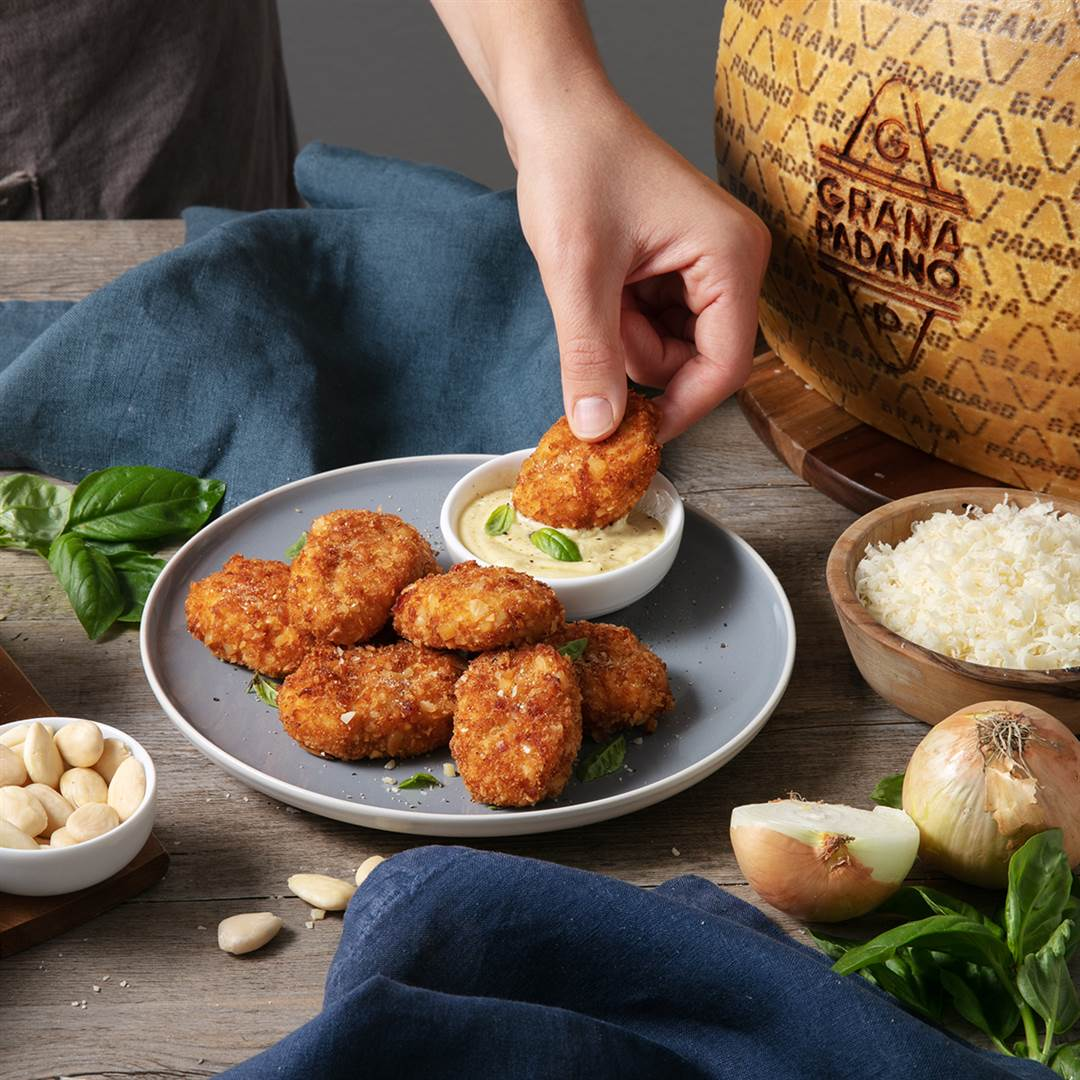 Grana Padano and almond coated chicken with mustard and basil mayonnaise dip