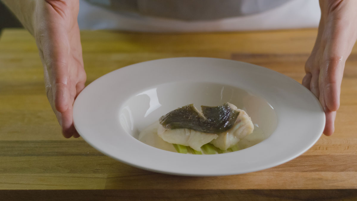 John Dory fillets cooked in olive oil with celery, lemon and Grana Padano