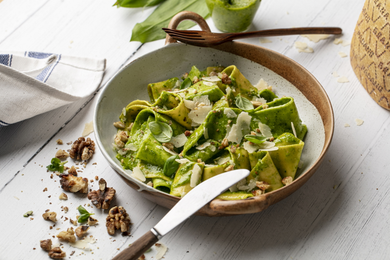 Grana Padano and wild garlic pesto Pappardelle