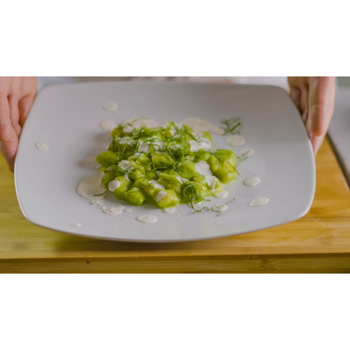 Potato gnocchi with courgette cream, mint and Grana Padano fondue
