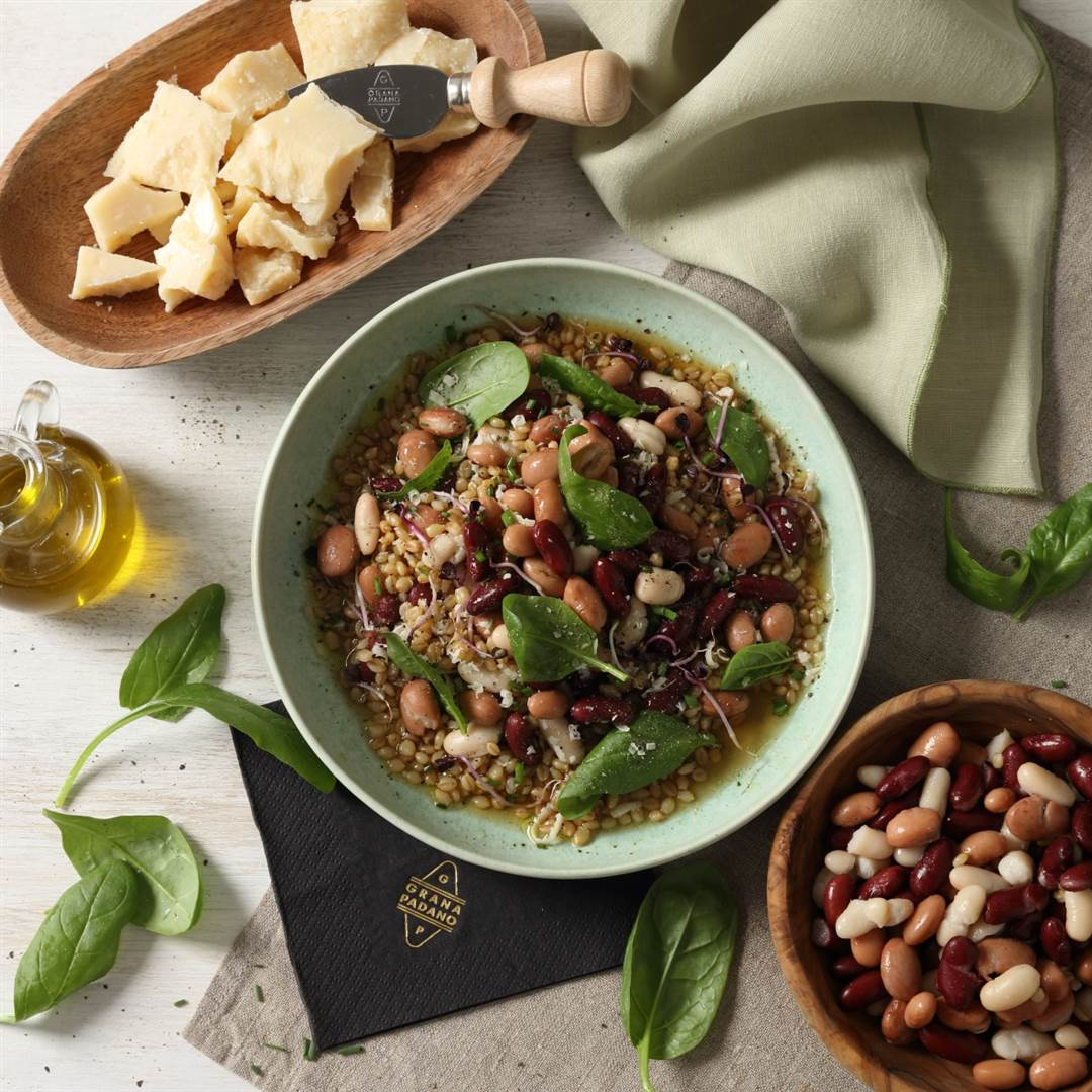 Warm Barley Salad with Cannellini, Cranberry and Red Kidney Beans and Grana Padano Riserva