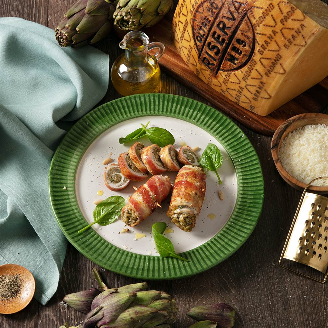 Chicken Rolls with Artichokes, Bacon, Pine Nuts and Grana Padano Riserva