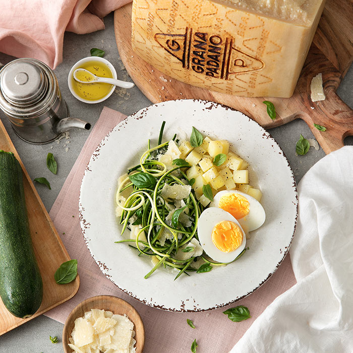 Marinated Courgettes, Hard-boiled Eggs and Grana Padano