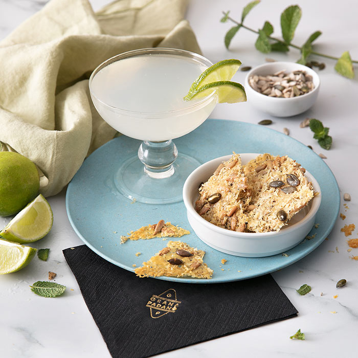 Gimlet and Crispy Grana Padano Riserva Wafers with Seeds and Herbs
