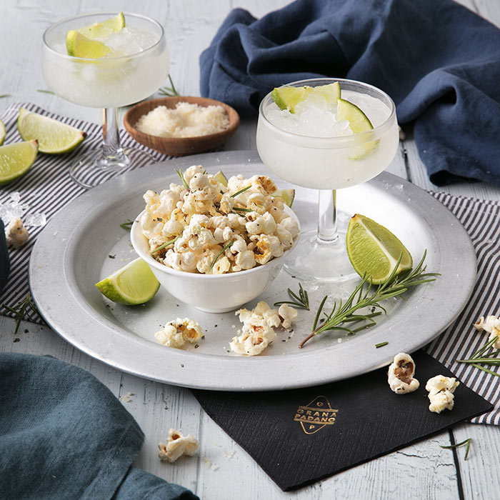 Frozen Citrus Margarita and Grana Padano Popcorn