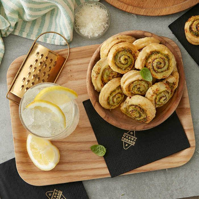 Gin Fizz and Puff Pastry Pinwheels with Grana Padano Riserva