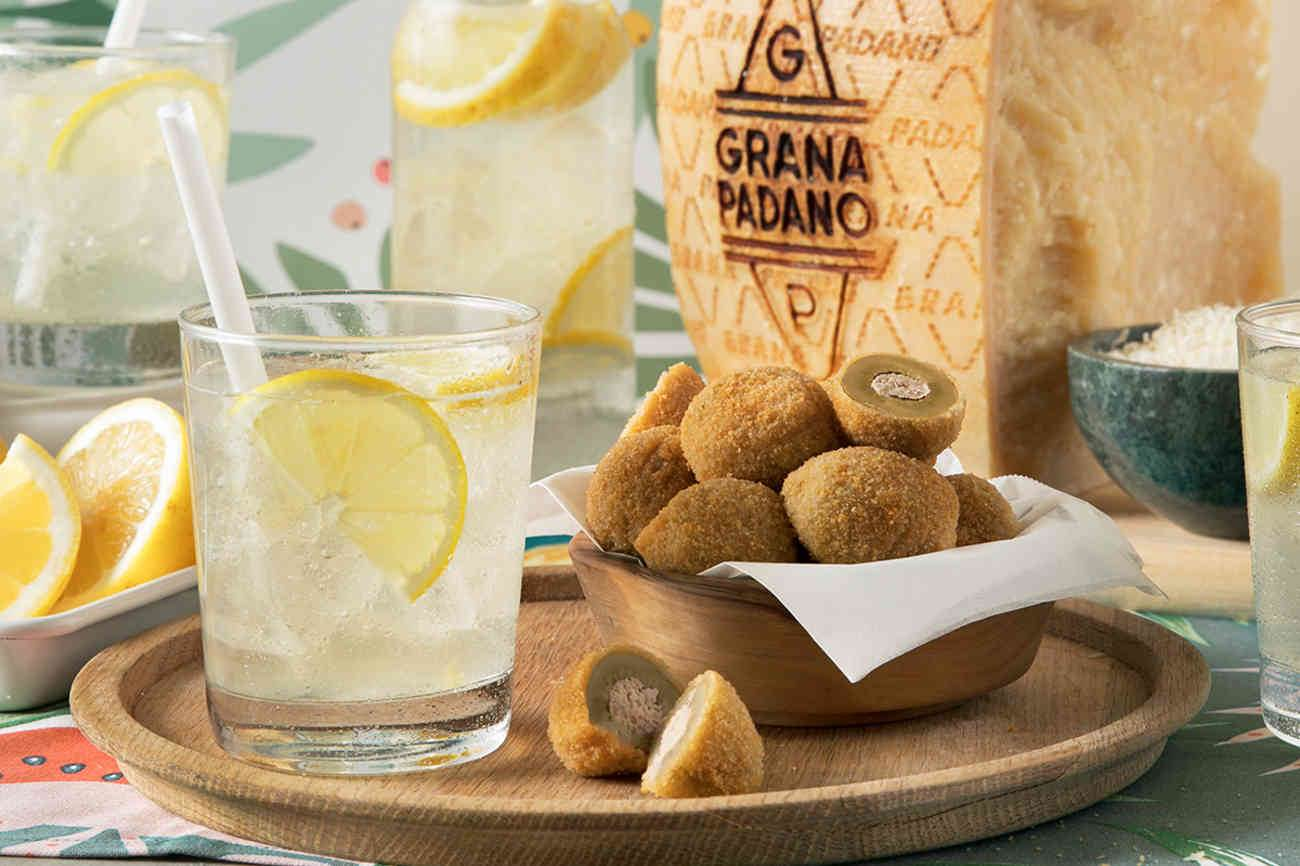 Gin Tonic and Stuffed Ascoli Olives with Grana Padano