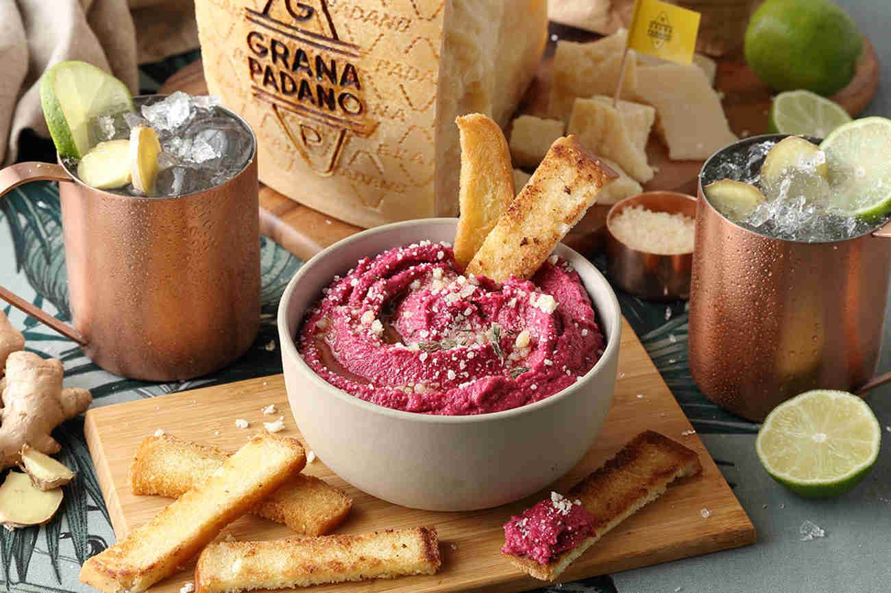 Chick pea, beet and Grana Padano hummus, crusty bread - served with Moscow Mule.