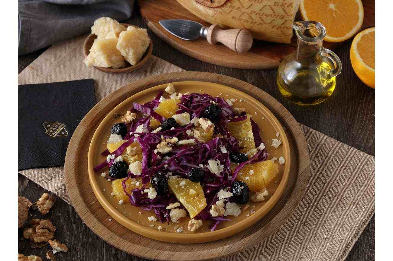 Red Cabbage Salad with Oranges, Olives, Walnuts and Grana Padano Riserva
