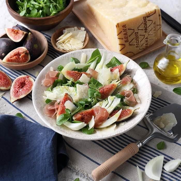 Salad of Figs, Lamb's Lettuce, Prosciutto and Grana Padano PDO