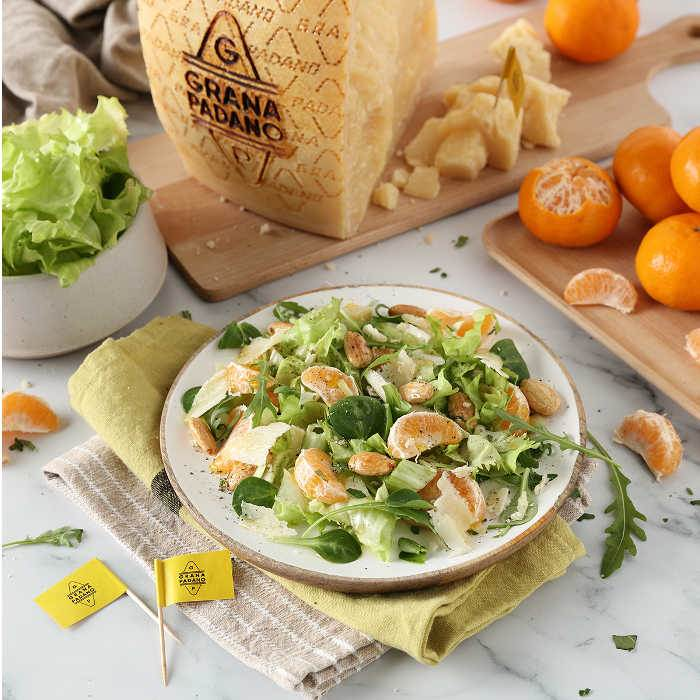 Tangerine, escarole, Grana Padano and toasted almond salad