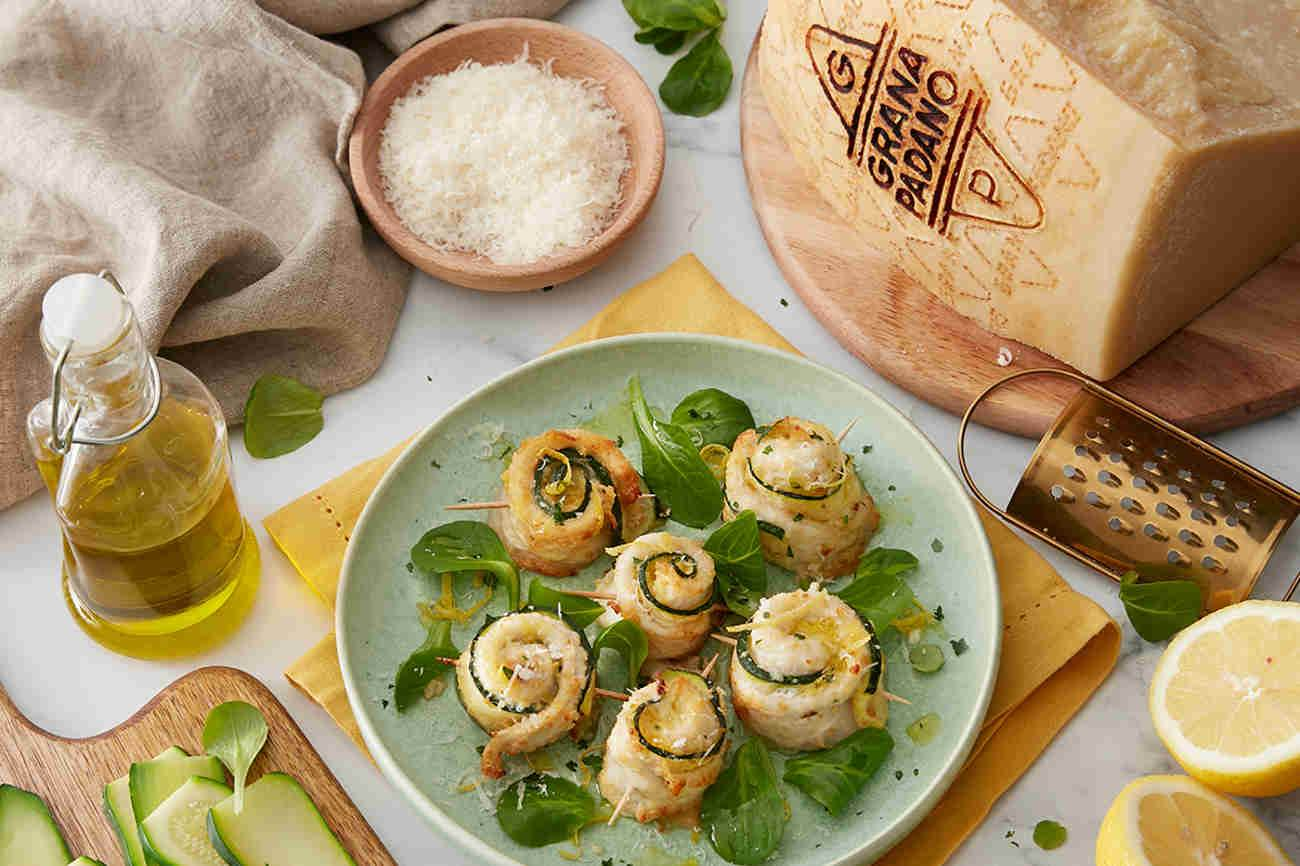 Flounder Rolls with Courgettes, Lemon and Grana Padano