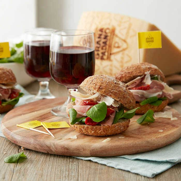 Lambrusco with Whole Grain Sandwiches with Shavings of Grana Padano