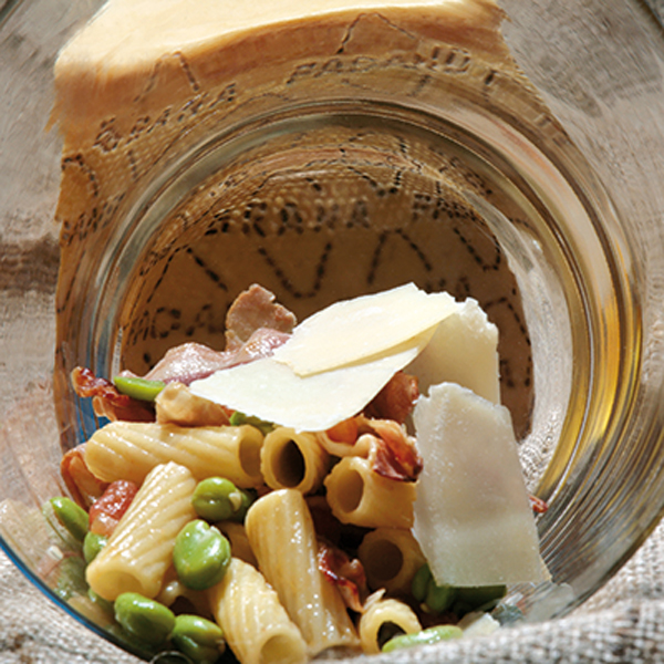 Macaroni with beans, crispy bacon and Grana Padano PDO