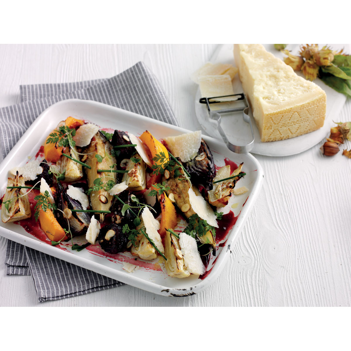 "Oven roasted vegetables with fresh hazelnuts or cobnuts, Grana Padano shavings ""Agrodolce"""
