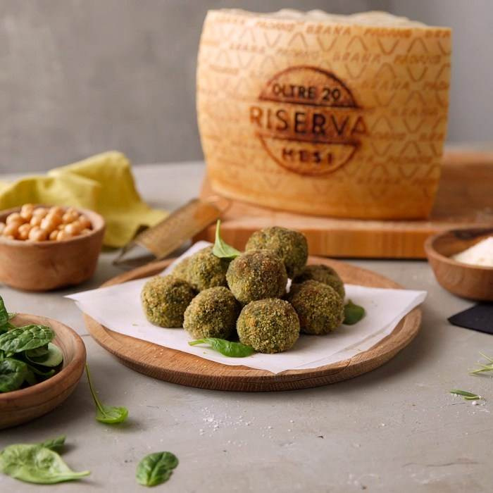 Chickpea Spinach Balls with Grana Padano Riserva