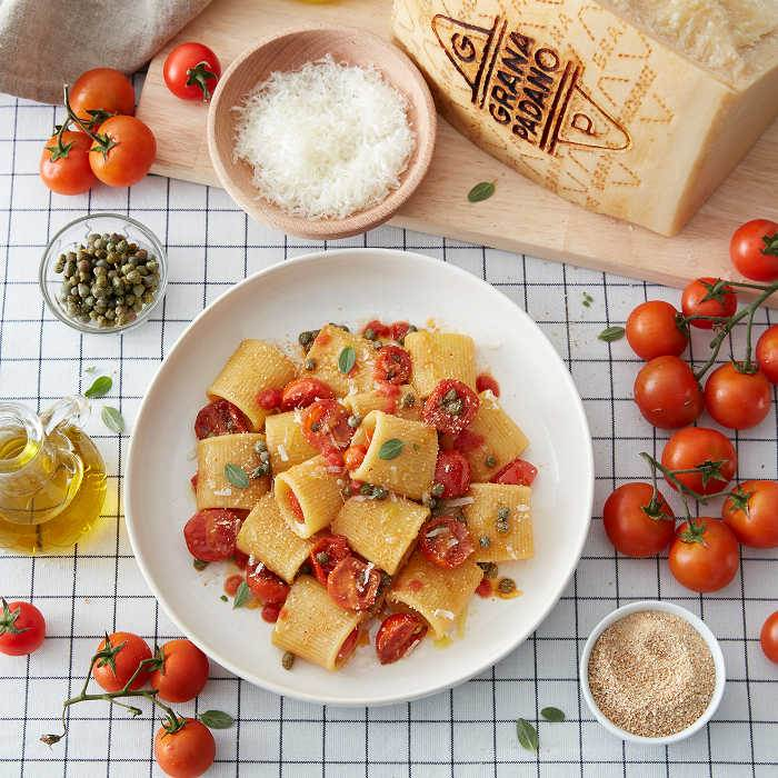 Paccheri with Sautéed Cherry Tomatoes and Grana Padano