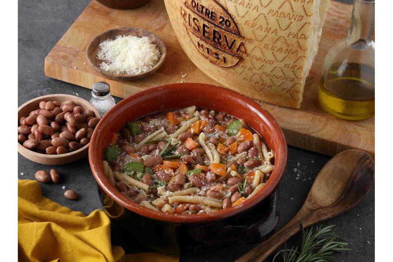 Pasta and Bean Soup with Grana Padano Riserva