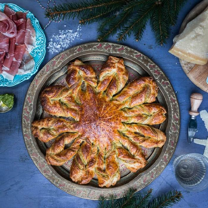Puff pastry snowflake tart with walnut pesto