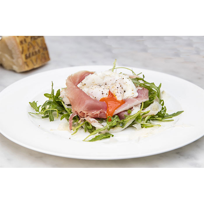 Poached egg, Prosciutto di San Daniele, Grana Padano & rocket with truffle dressing