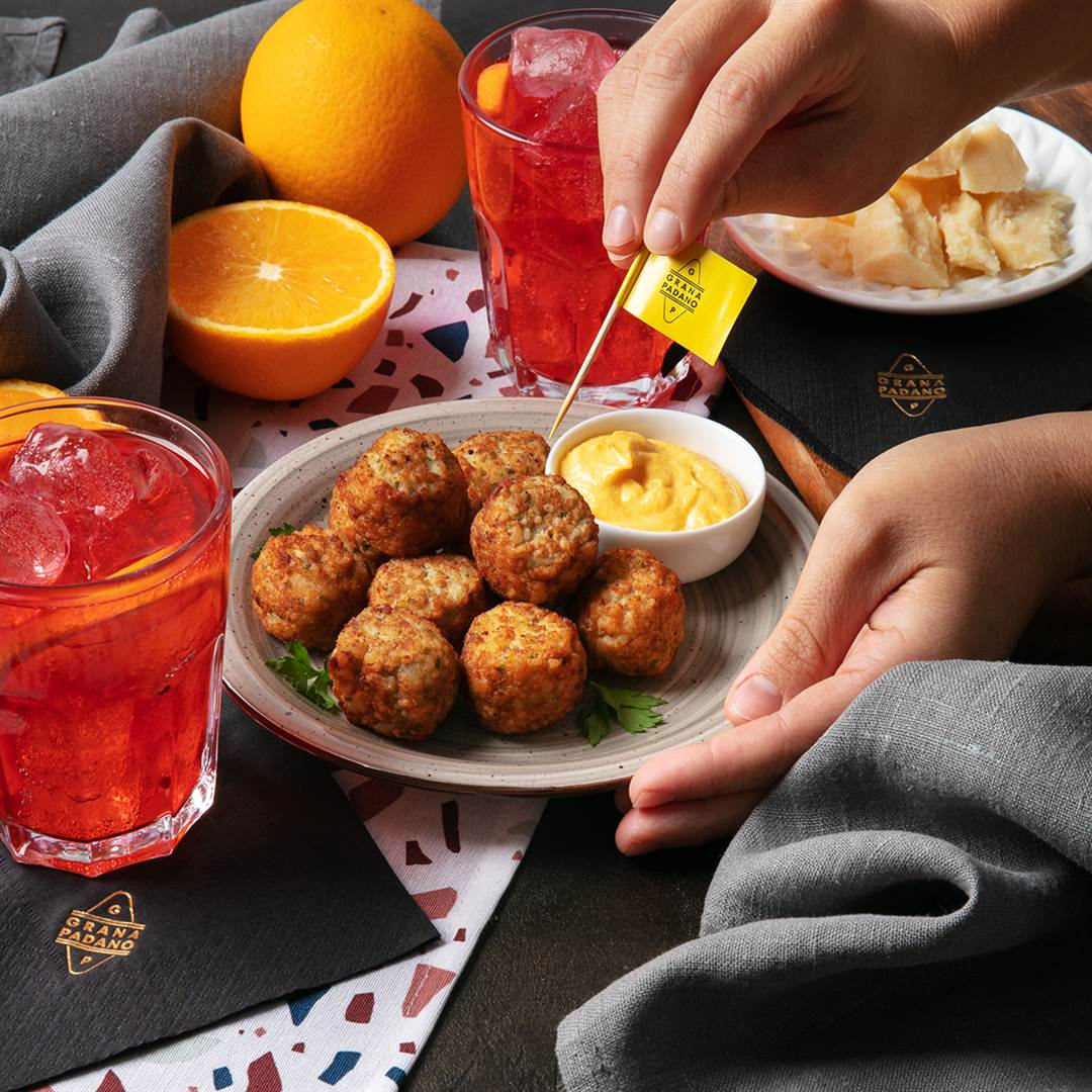 Salt Cod Balls with Grana Padano and Mustard Mayonnaise + Spritz Select
