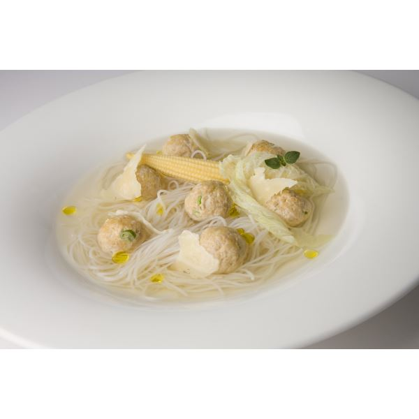 Pork-meat balls in a clear, Franciacorta-scented broth