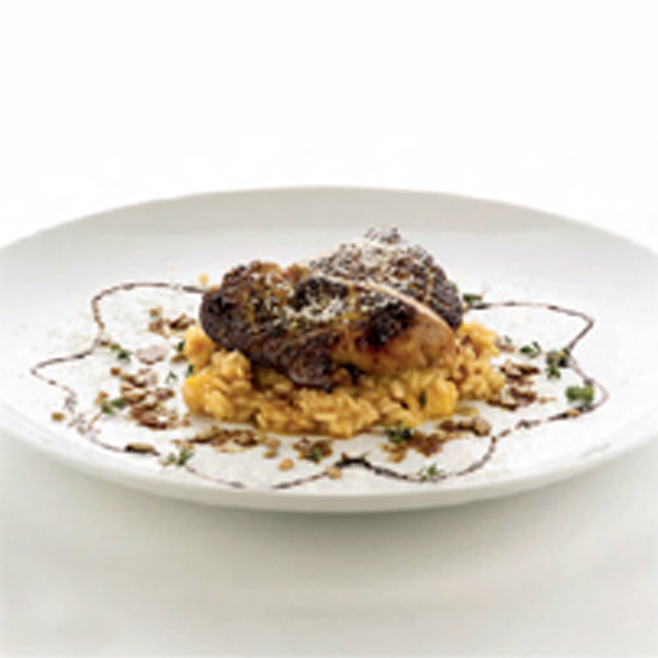 Pumpkin and Grana Padano risotto with foie gras and fresh thyme