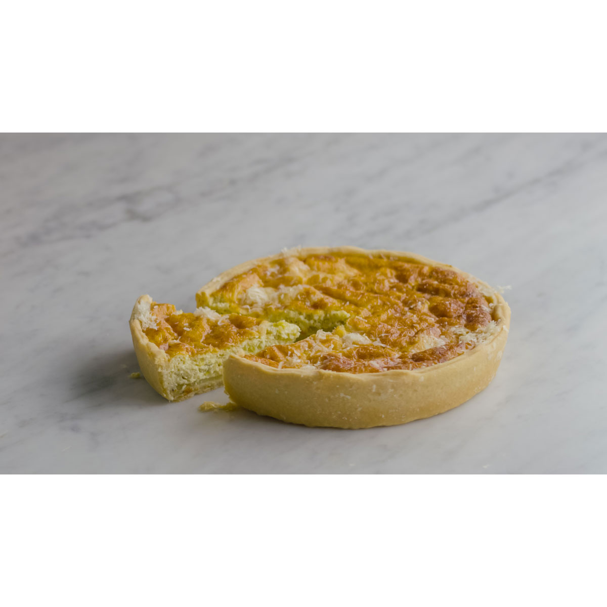 Leek, potato and Grana Padano quiche