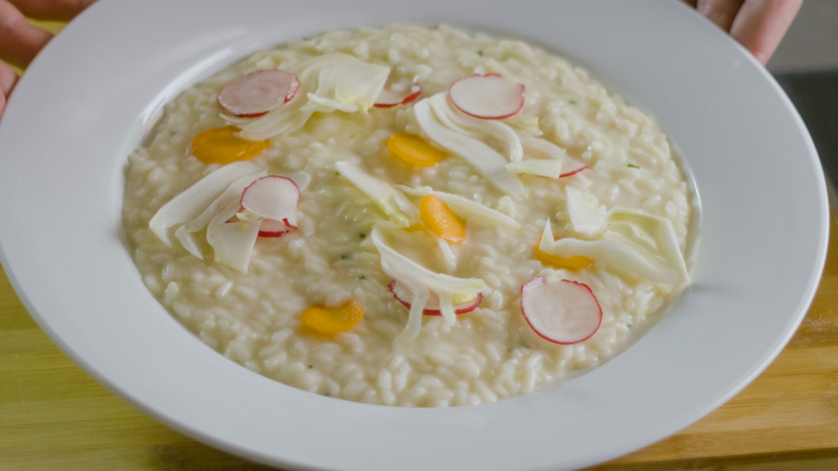 Grana Padano Riserva risotto with vegetables