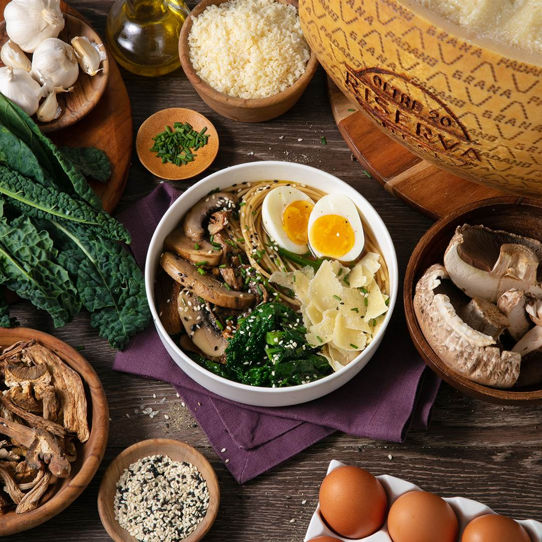 Mediterranean Winter noodles with spaghetti, mushroom broth, soft boiled egg, Grana Padano Riserva and Tuscan kale