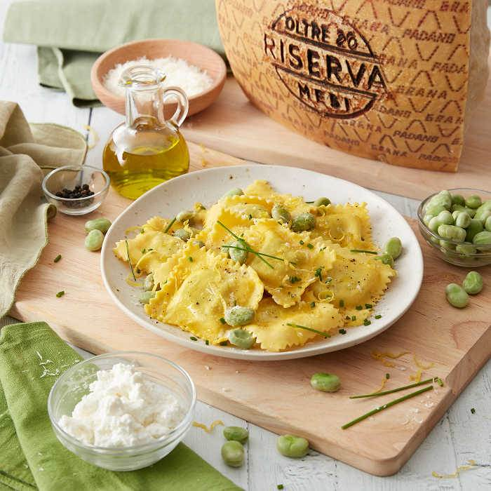 Ricotta Ravioli with Fava Beans and Grana Padano Riserva