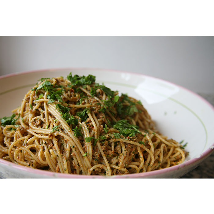 Spaghetti with Sun Dried Tomato Pesto