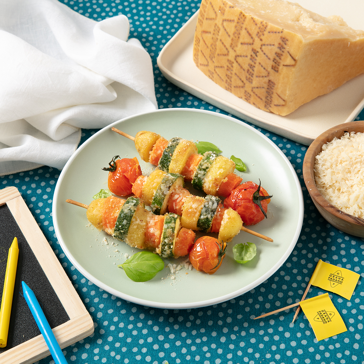 Baked vegetable, potato and Grana Padano skewers