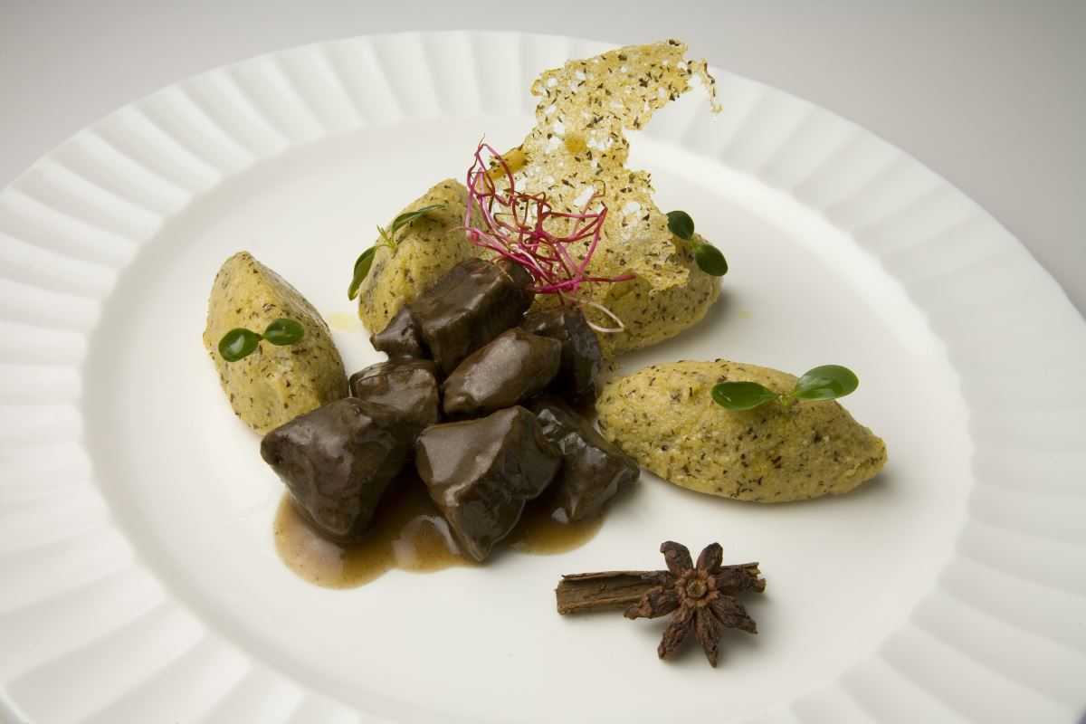 "Stewed  beef with ""Polenta Taragna"" quenelles"