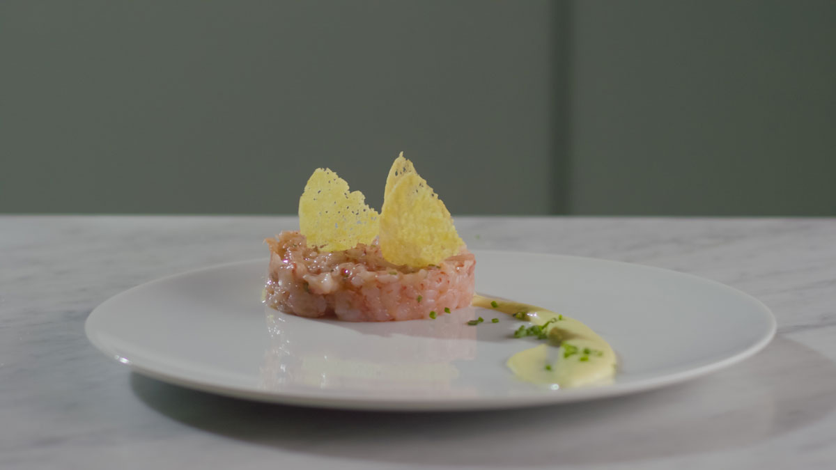 Prawn tartare with Grana Padano wafer and lime mayonnaise