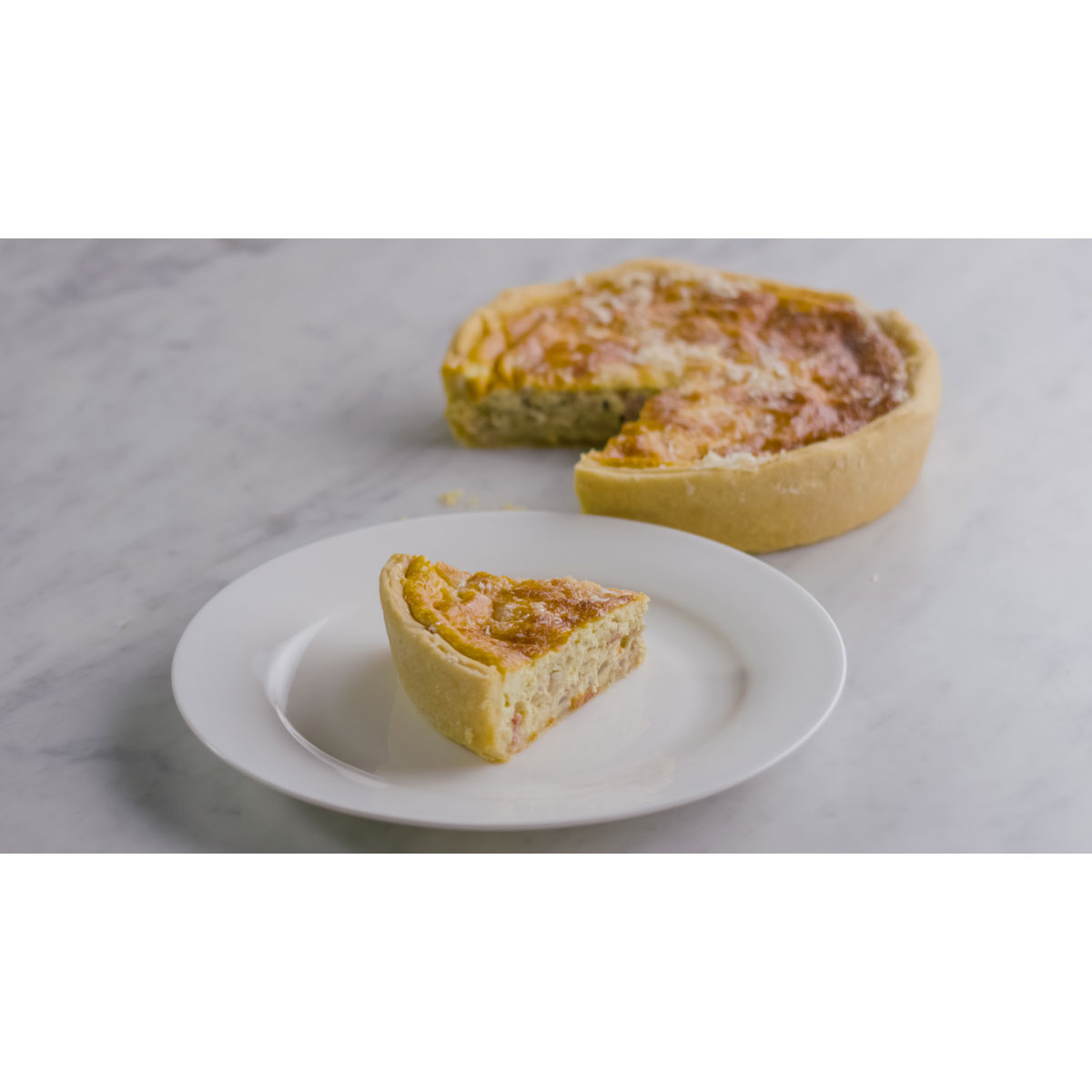 Grana Padano,red onion and pancetta quiche