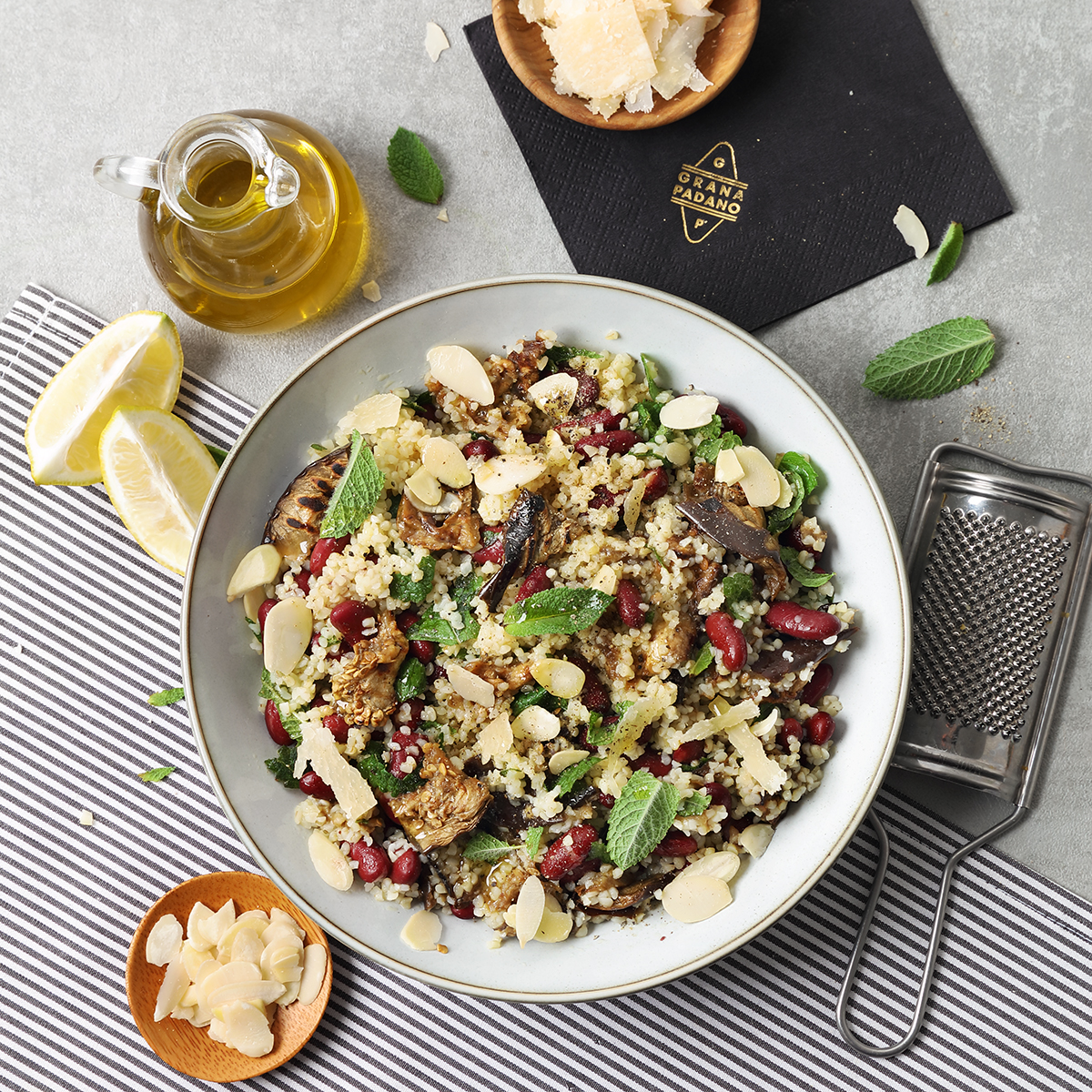 Tabbouleh with grilled aubergine, red kidney beans, mint, almonds, ginger and Grana Padano Riserva