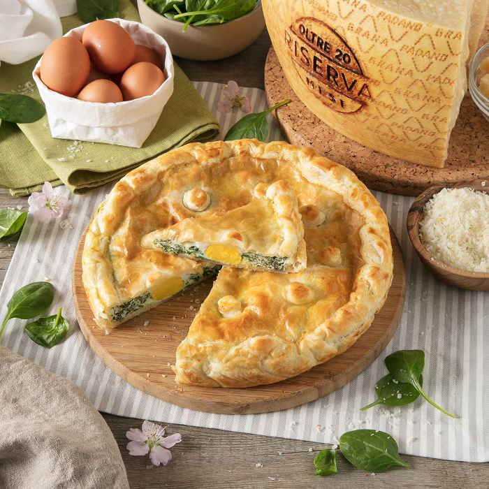 Torta Pasqualina (Easter Pie) with Spinach, Hard-boiled Eggs and Grana Padano Riserva
