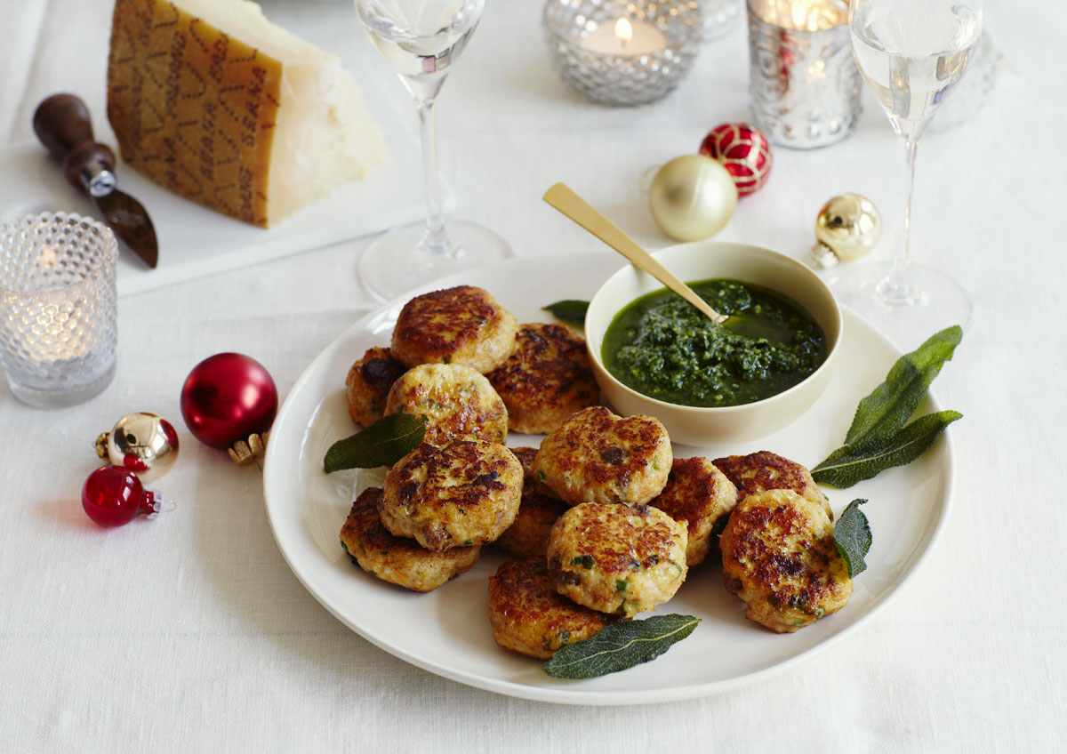 Turkey and pumpkin dumplings with Grana Padano watercress dip