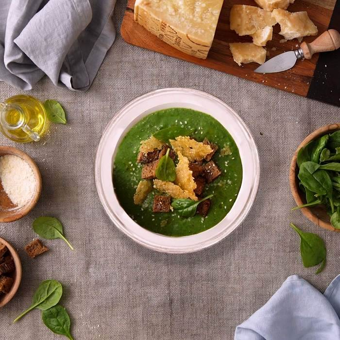 Velvety Spinach and Potato Soup with Grana Padano Crisps