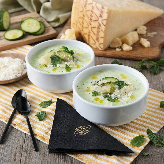 Cold cucumber and potato soup with yoghurt and Grana Padano PDO