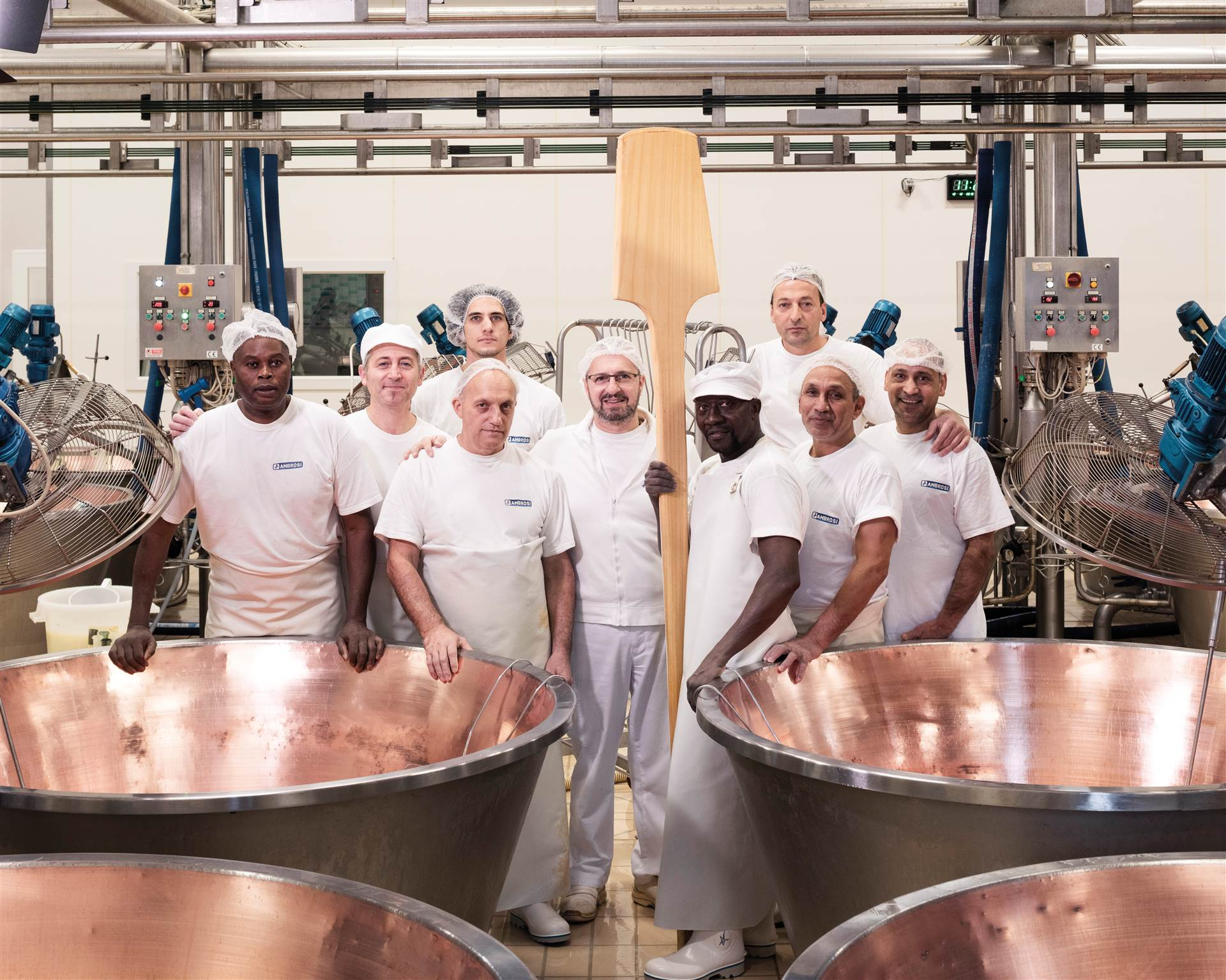 The team of cheesemaking technicians in the Castenedolo dairy
