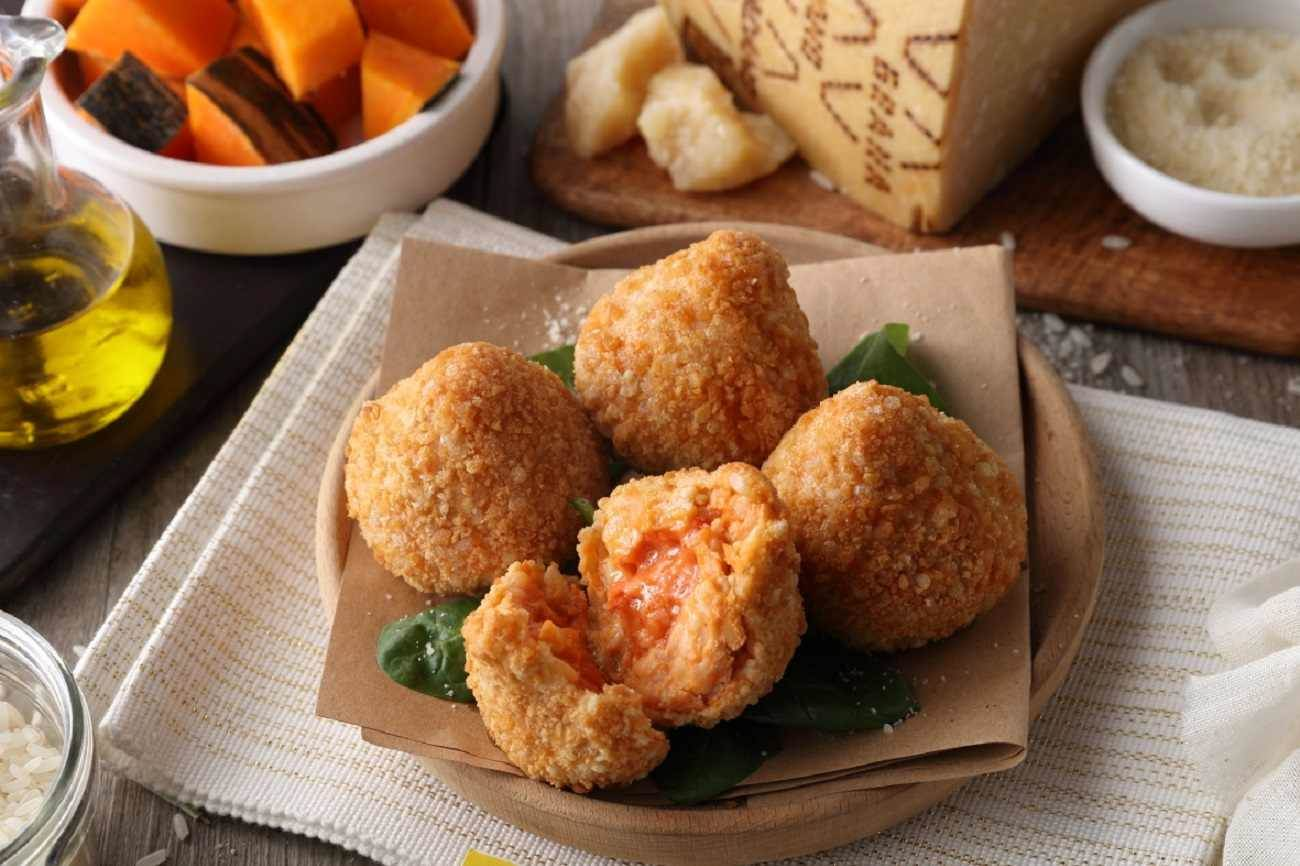 Rice Balls with Pumpkin and Grana Padano